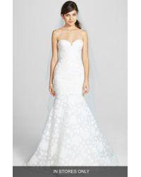 Amsale - White 'aida' Floral Jacquard Mermaid Gown - Lyst