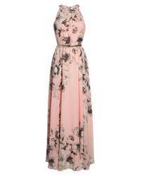 Eliza J | Pink Floral-Print Chiffon Maxi Dress | Lyst