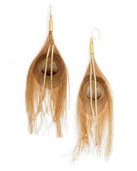 Serefina - Natural Peacock Feather Earrings - Lyst