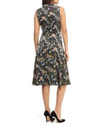 Maggy London Black Floral Charmeuse A-line Dress