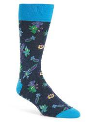Bugatchi - Blue Floral Socks for Men - Lyst