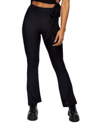 TOPSHOP Black Ribbed Flare Leg Trousers