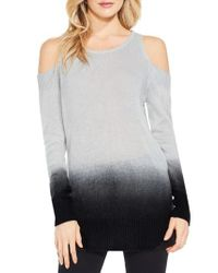 Two By Vince Camuto | Gray Cold Shoulder Ombre Sweater | Lyst