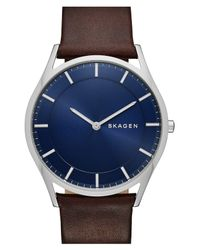 Skagen Brown 'holst' Round Watch for men