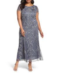 Pisarro Nights Multicolor Beaded Short Sleeve Column Gown