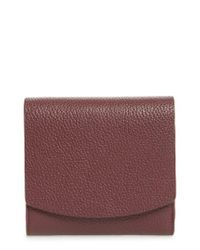 Nordstrom - Purple Olivia Leather Trifold Wallet - Burgundy - Lyst