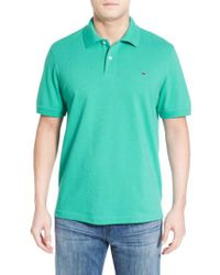 Vineyard Vines Blue Classic Pique Knit Polo for men