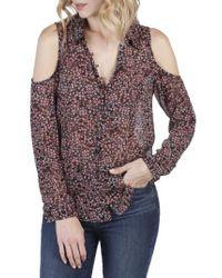 PAIGE | Multicolor Bellini Cold Shoulder Silk Shirt | Lyst