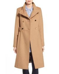 Eliza J Natural Wool-Blend Military Coat