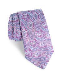 David Donahue Blue Paisley Linen & Silk Tie for men