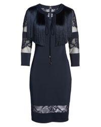 Tadashi Shoji - Blue Fringe Sheath Dress - Lyst