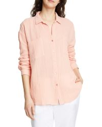 Eileen Fisher Pink Crinkled Cotton Button Up Blouse