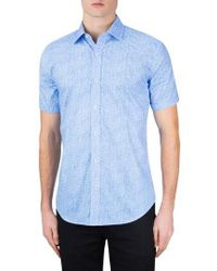Bugatchi Blue Classic Fit Check Sport Shirt for men