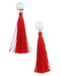 TOPSHOP - Red Stud Tassel Drop Earrings - Lyst
