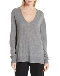 Vince Gray Wool & Cashmere V-neck Sweater