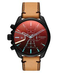 DIESEL - Red Diesel Ms9 Chronograph Leather Strap Watch for Men - Lyst