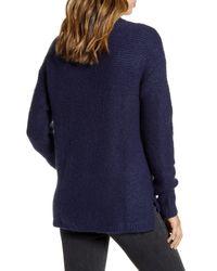 Caslon Blue Caslon Mock Neck High Low Sweater