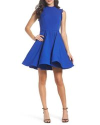 Mac Duggal Blue Embellished Ruffle Fit & Flare Dress