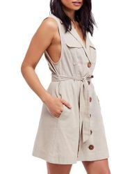 Free People - Gray Hepburn Safari Shirtdress - Lyst