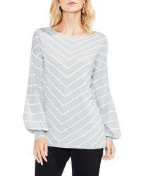 Vince Camuto | Gray Long Sleeve Chevron Intarsia Sweater | Lyst