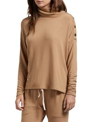 Michael Stars Brown Lacy Madison Brushed Jersey Button Detail Long Sleeve Top