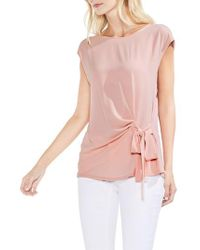 Vince Camuto - Pink Tie Front Blouse - Lyst