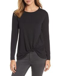 Bobeau | Black Dressy Front Knot Long Sleeve Top | Lyst
