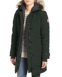 Canada Goose Green 'lorette' Hooded Down Parka With Genuine Coyote Fur Trim