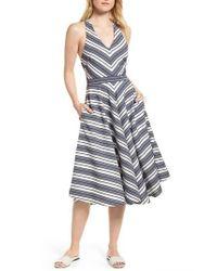 9d058deac91 Lyst - Nordstrom 1901 Stripe V-neck Dress in Blue