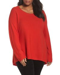 Eileen Fisher - Red Organic Cotton High/low Tunic - Lyst
