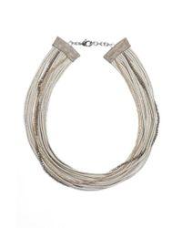 Fabiana Filippi | Metallic Multistrand Beaded Stretch Silk Necklace | Lyst