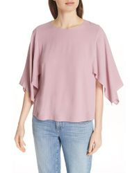 Eileen Fisher - Pink Slit Sleeve Silk Top - Lyst