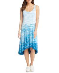 Karen Kane - Blue Tie Dye High/low Tank Dress - Lyst