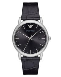 Emporio Armani Multicolor Leather Strap Watch