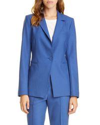 TAILORED BY REBECCA TAYLOR Blue Gabardine Jacket
