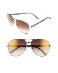 Jimmy Choo - Metallic 'lexie' 61mm Aviator Sunglasses - Light Gold - Lyst