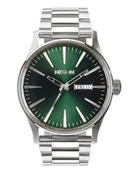 Nixon - Green 'the Sentry' Round Bracelet Watch for Men - Lyst