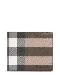 Burberry Brown Check E-canvas International Bifold Wallet for men