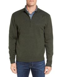 Cutter & Buck - Green 'douglas' Quarter Zip Wool Blend Sweater for Men - Lyst