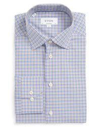 Eton of Sweden - Blue Contemporary Fit Check Dress Shirt for Men - Lyst