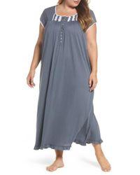 Eileen West | Gray Cotton & Modal Long Nightgown | Lyst