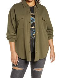 Treasure & Bond Green Knit Shirt Jacket