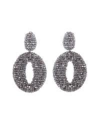 Oscar de la Renta - Metallic Beaded Frontal Hoop Earrings - Lyst
