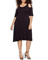MICHEL STUDIO | Black Shoulder Tie Fit & Flare Dress | Lyst