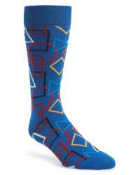 Happy Socks - Blue Geometric Socks for Men - Lyst
