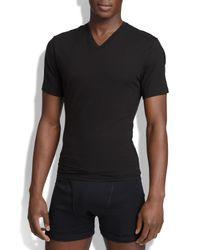Spanx White Spanx V-neck Cotton Compression T-shirt for men