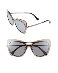 Balenciaga - Metallic 57mm Layered Butterfly Sunglasses - Gunmetal/ Black/ Silver/ Brown - Lyst