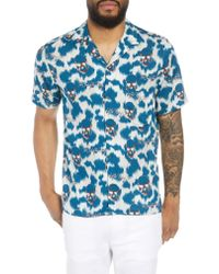 The Kooples Blue Regular Fit Hawaiian Shirt for men