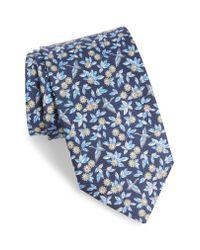 Ferragamo Blue Floral Print Silk Tie for men