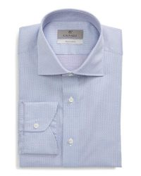 Canali - Blue Trim Fit Jacquard Dress Shirt for Men - Lyst